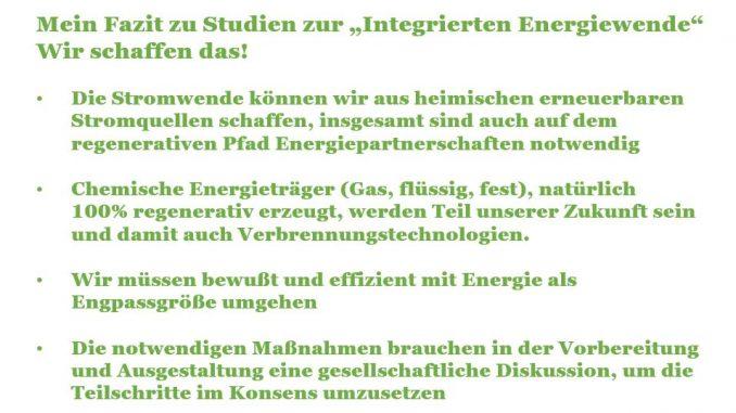 Mei Fazit aus 3 Studien zur integrierten Energiewende- Wir schaffen das!